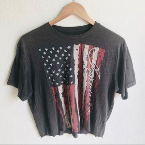 Cropped cutoff American Flag Tee Small